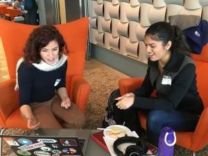 Above: L to R - Competitor Chaima Jemmali meets with mentor Wizdy's Nikita Virani