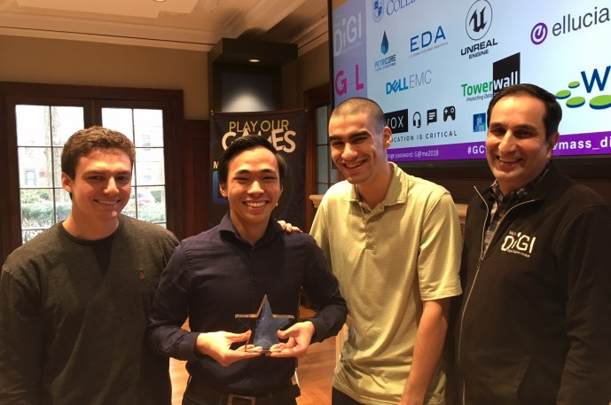 Game Challenge '18 - Grand Prize winners Matt Venezia, Tung Vu & Jared Braun with Monty Sharma